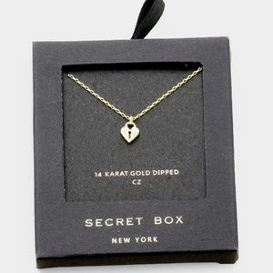 14K Gold Dipped CZ Heart Lock Pendant Necklace